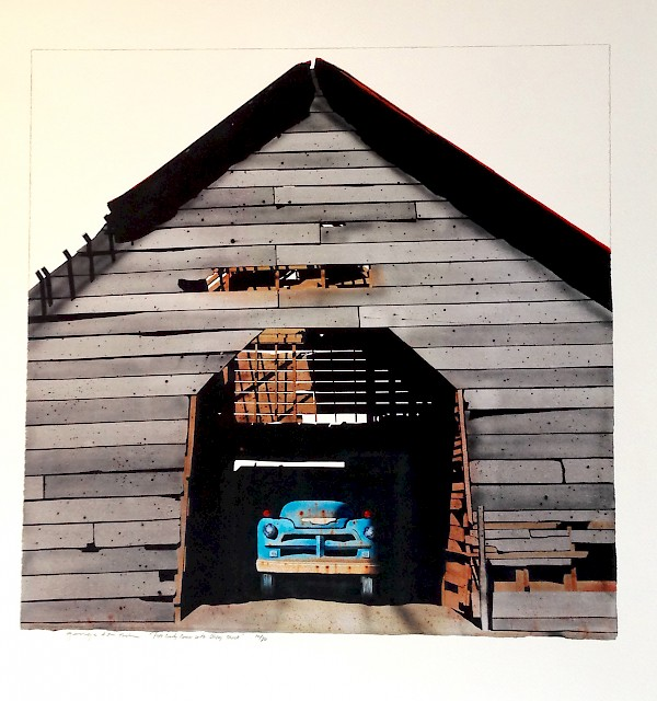 Pope County Barn with Chevy Truck (full view) - SOLD